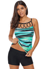 Greenish Tie Farve Striped Strappy High Neck Tankini Top