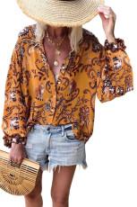 오렌지 보호 버튼 V 넥 꽃 무늬 프린트 셔츠