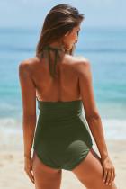 Πράσινο μακρύ λαιμό χειροποίητο μαγιό Monokini με λουρί αυτοκόλλητου