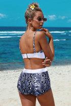 Zweiteiliger mehrfarbiger Bikini mit hoher Taille