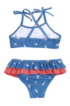 Sail Blue Little Girls Ruffle Bikini med tryck