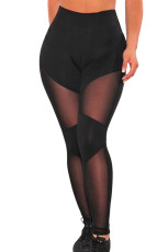 Fekete Sheer Mesh Gym Leggings