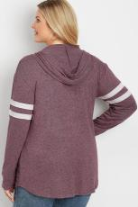 Lila Plus Size Langarm Pullover Hoodie