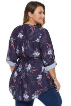 Lila Floral Pintuck Plus Size Bluse