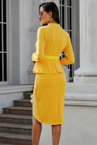 آستین بلند زرد لباس پیراهن کش ورزش نامتقارن Falbala Falbala
