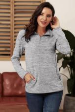 Grå Quarter Zip Pullover Sweatshirt
