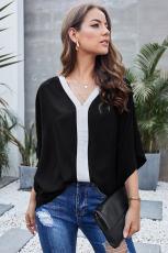 Schwarze Mode Kontrastfarbe V-Ausschnitt Bluse