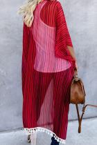Kimono Rumbai Bergaris Merah