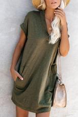 Grün kam zu spielen Baumwollmischung Pocketed T-Shirt Kleid