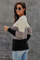블랙 컬러 블록 그물 질감 풀 오버 스웨터