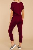 Vinho Vermelho V Neck Wrap Front Jumpsuits