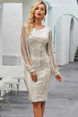 Silver Payet Rumbai Lengan Bodycon Evening Dress