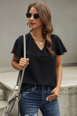 Black V Neck Short Sleeve Tee