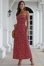 Rode Bohemian Bandeau Maxi-jurk met bloemenprint