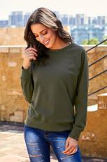 Grøn fransk Terry bomuldsblanding sweatshirt