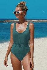 Jednoczęściowy strój kąpielowy z paskiem w zielone prążki