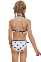Halter Neck Blue Stars Print Hvit Kid Girls Bikini Badetøy