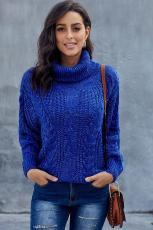 Blue Chunky Turtleneck-tröja