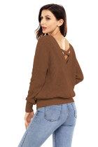 브라운 크로스 백 중공 스웨터