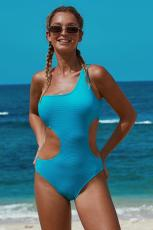 Himmelblå One Shoulder Cut Out Maillot