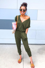 Jumpsuits Depan Hijau V Neck Wrap