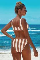 Brązowe sportowe bikini z wysokim stanem w paski