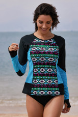 Black Blue Color Block Tribal Print Rashguard Top