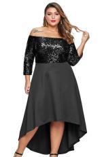 Czarna, cekinowa gorsetowa sukienka z odkrytymi ramionami