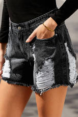 Black Clubhouse High Rise Distressed Denim Shorts