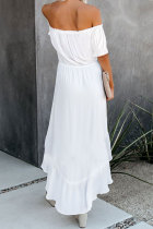 White Glaze High High Off The Shoulder Maxi Dress