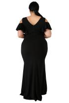Fekete plusz méretű lángoló hableány ruha
