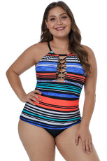 O-ring Lattice Neck Multicolor Striped Tankini Top