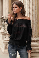Schwarz Off Shoulder Ruffle Langarm Smocked Taille Lace Crochet Bluse
