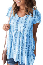 Sky Blue Short Sleeve V Neck Floral Print Peplum Tunic Top