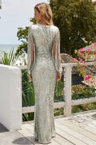 シルバースパンコールフリンジスリーブパーティーマキシイブニングドレス