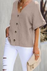 Damasco embeba-o algodão blusa botão