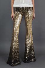 Черно-золотые брюки с градиентом и блестками