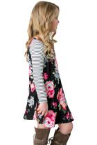 Svart Vår Fling Floral Striped Sleeve Short Dress for Kids
