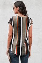 Schwarze V-Ausschnitt-Streifen Roll-Up-Kurzarm-Bluse mit Reißverschluss