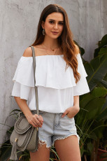 Weißes Soft Breeze Off-Shoulder-Top mit Rüschen
