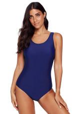 Granatowy, jednoczęściowy strój kąpielowy Criss Cross Back