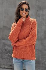 오렌지 대형 chunky 배트 윙 긴 소매 터틀넥 스웨터