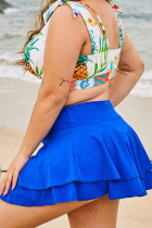 Niebieska, dwuwarstwowa spódnica plażowa z falbanami