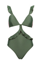 Jednoczęściowy strój kąpielowy w zielone falbany