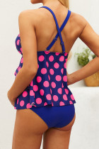 Blue Dot Print Ruffled Layered Maternity Swimsuit