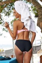 Rosa färgblock Strappy Bikini baddräkt