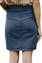 Blå Chic Button Up Denim Skirt