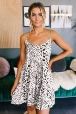 Witte Tiered Leopard babydoll-jurk