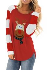 Christmas Cartoon Reindeer Color Blind Sleeve Top