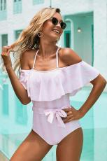 Pink Spaghetti Straps Striped Ruffled One-piece Swimsuit